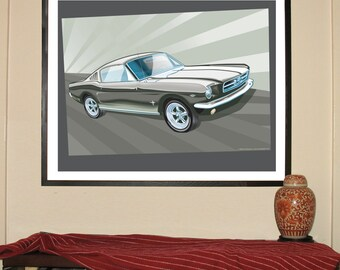 """1965 Ford Mustang Fastback 24""""w x 30""""h Giclee"""