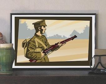 """1914 British Tommy Soldier 17""""w x 11""""h Print"""