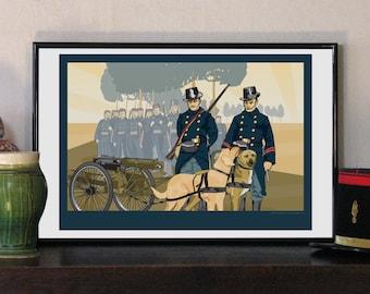 """1914 Belgian Carabinier Regiment with Dog Cart 17""""w x 11""""h Print"""