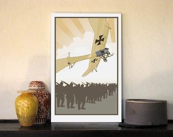 "1914 Imperial German Air Service Taub (Dove) 13""w x 20""h Giclee"