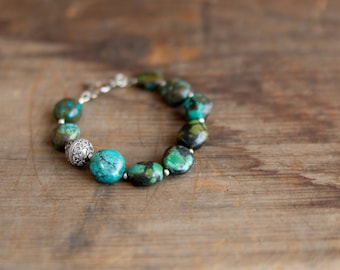 Hubei Turquoise and Bali silver bracelet