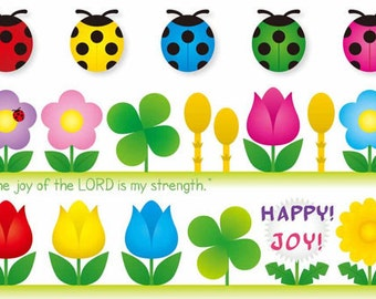 Nehemiah 8:10, Scripture Cards, The Joy of the Lord, Flowers & Ladybugs, Bible Verse