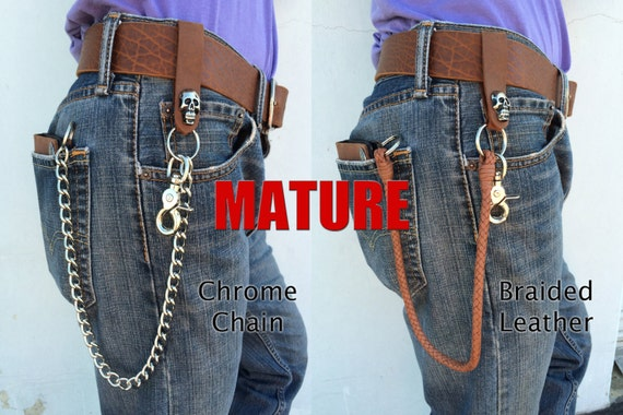 Mens Biker Leather Chain Wallet Bad Mother USA MADE by Americans Brown Cowhide