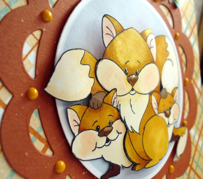 birthday cardlittle foxes cardwhimsical cardchild,s card