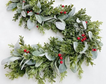 Greenery Garland, Christmas Greenery for Mantle Decor, Decorations For Mantle, Holiday Wedding Decor, Floral Garland, Foliage Backdrop