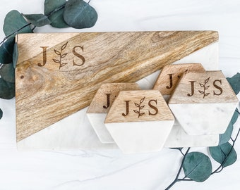Personalized Marble Cheese Board Set, Marble And Wood Cutting Board, Wood With Marble Circular Hexagon Coasters, Cutting Board Coaster Sets