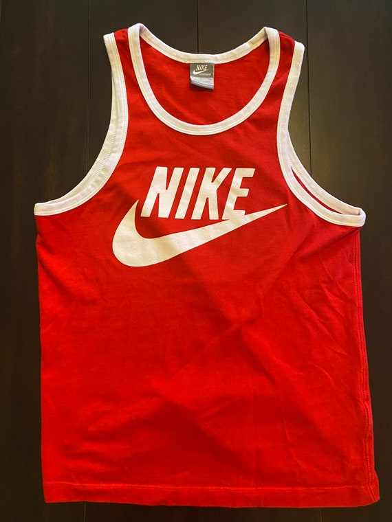 Vintage Red Nike Logo Tank Top / Small