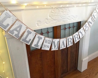 Marry Me Banner - Rustic Marriage Proposal Banner - Personalized Will You Marry Me Sign - He Asked - She Said Yes - Engagement Photo Prop