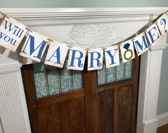 Rustic Marriage Proposal Banner - Will You Marry Me Sign - He Asked - She Said Yes - Engagement Photo Prop