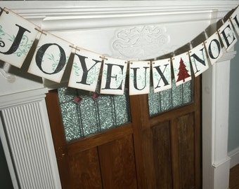 JOYEUX Noel Christmas Banner, Merry Christmas Sign, Rustic Christmas Decoration, Christmas Decor, Holiday Photo Prop