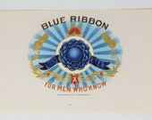 Blue Ribbon Cigar Label, Inner Box, Genuine-Original, Unused - 1920 39 s