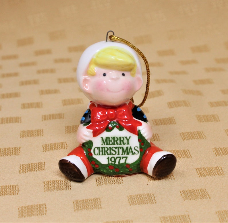 Ceramic Vintage Dennis The Menace and Ruff Christmas Ornament