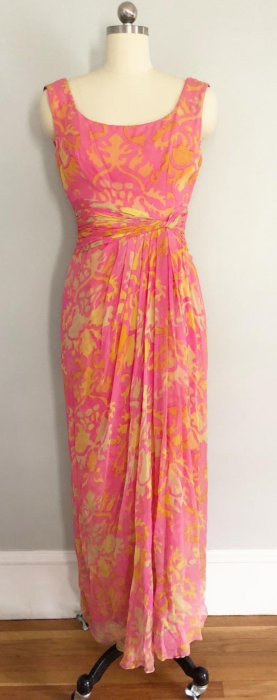Pink Silk Chiffon Edward Abbott Dress