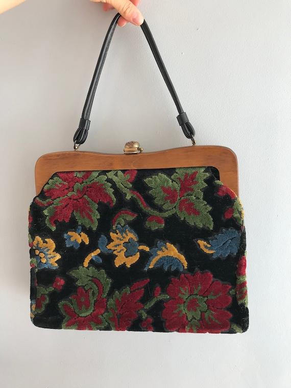 Vintage Wood Frame Tapestry Bag