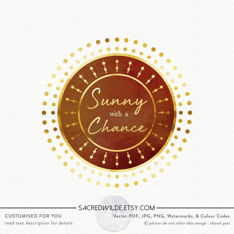 Geometric Sun Logo , Circle Logo , Sun ray logo , polka dot logo , gold  confetti logo , holistic logo , yoga logo , energy healing logo