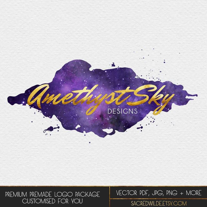 Amethyst Watercolor Logo Design Purple Watercolour Purple Galaxy Watercolour Galaxy Night Sky Universe Logo Starry Sky