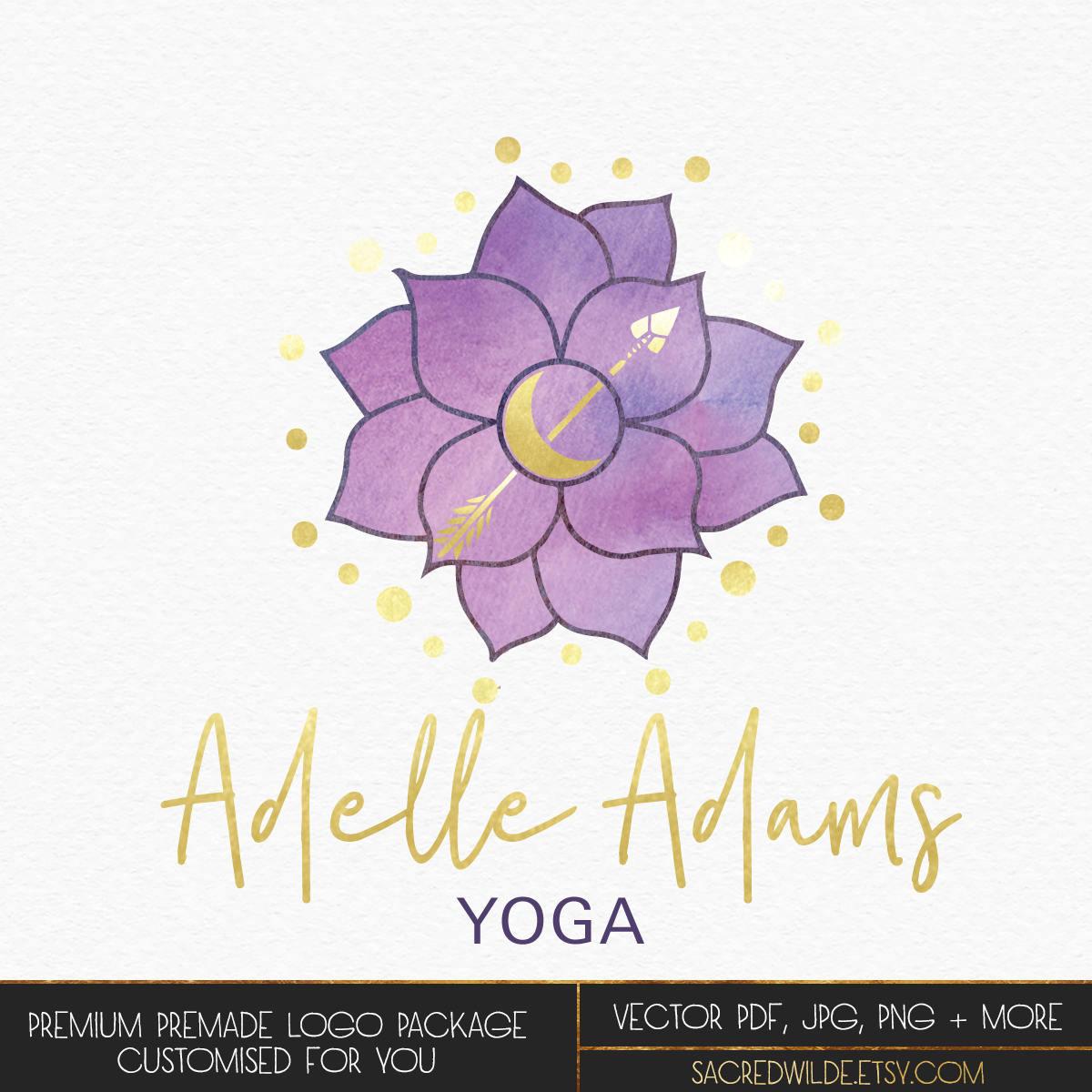 Purple lotus logo design lotus blossom logo lotus flower etsy zoom izmirmasajfo