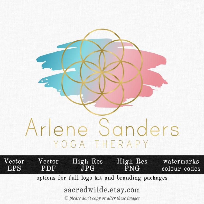 Gold Seed of Life Logo , Geometric Logo , Sacred Geometry , pink and Blue  Logo , Gradient Logo , Ombre Logo , Healing Logo , Massage Logo