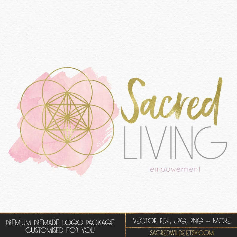 Gold Seed of Life Logo , Sacred Geometry Logo , Pink and Gold Logo ,  Spiritual Logo , Soft Logo , Coaching Logo , Yoga Therapy Logo