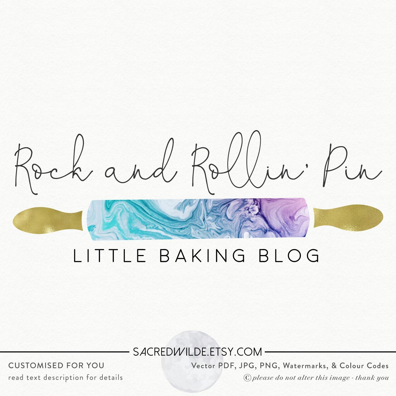 Rolling Pin Logo , Baking Logo , Bakers Logo , Bakery Logo , Gold Rolling Pin Logo , Marble Logo , Feminine Logo , Food Blog Logo