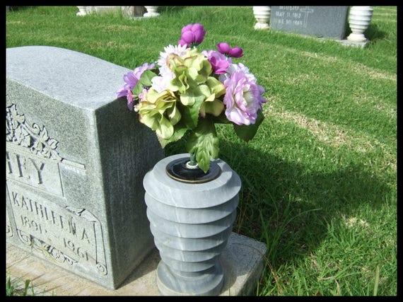 Cemetery Vase Headstone Gravestone Flower Holder Insert With Rounded Bottom Made In USA PR2328