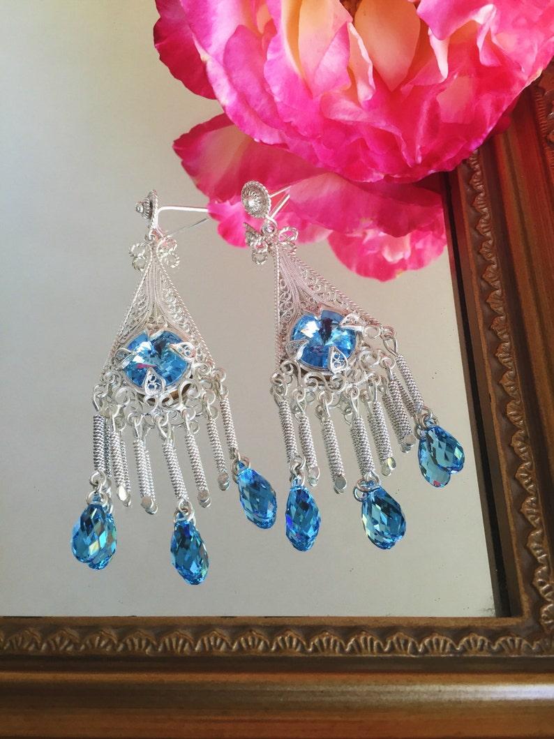 Chandelier Earrings Sterling Drop earrings Aquamarine Earrings Sterling Silver Filigree Earrings Designers Earrings. Wedding earrings