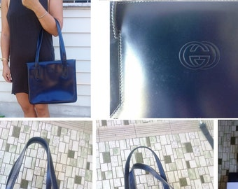 AUTHENTIC Vintage Gucci Blue Leather Tote Shoulder bag with gold hardware