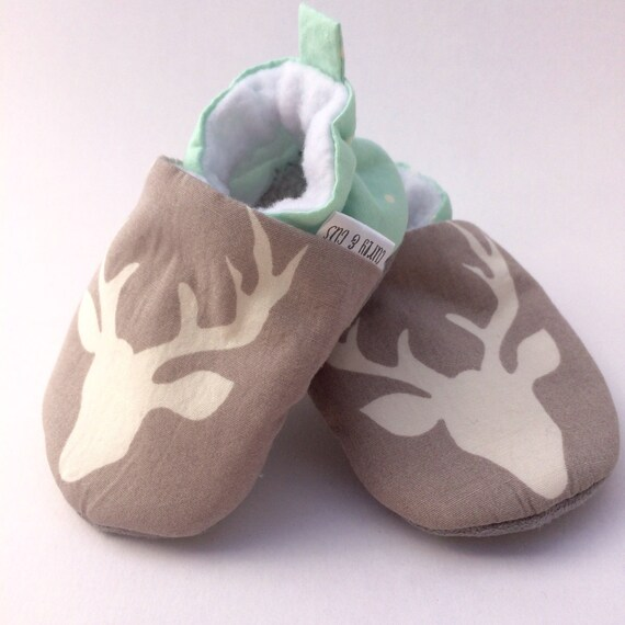 91a7850e123 Gray Deer Handmade Baby Shoes Mint Baby Shoes Soft Sole Baby