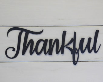 Thankful Sign, Rustic Word Art Sign, Farmhouse Sign, Gallery Wall Sign, Metal Sign