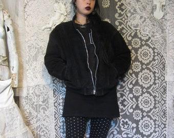 d5eeb9e2b87 Black Suede Bomber Jacket 80s 90s Leather Oversized Loose Baggy Shoulder  Pads Unisex Nu Goth Punk Witchy Coat Moto Motorcycle Jacket