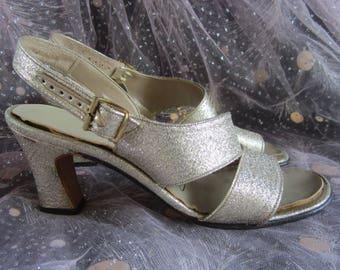 109556d1401 60 s Gold Lurex Strappy Sandal Heels Life Stride Pumps Mid Century Metallic  Mod 50s Retro Pin Up Regency Goth Boho Low Heels Size 5.5 - 6