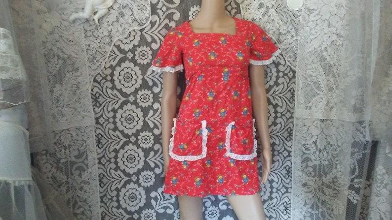 7246dccad1 60s 70s Red Floral Micro Mini Dress Prairie Boho Bohemian