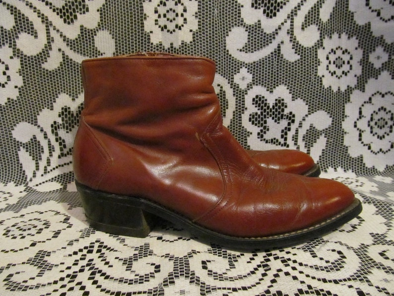 1a6f7805e0a 70s Brown Leather Pointed Ankle Boot 60s 80s Chelsea Beatle