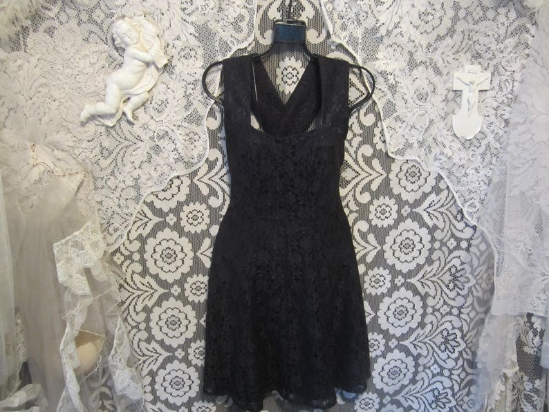 454f5a5c02e0 90 s Black Lace Skater Dress Suspender Dress Crossed Thick
