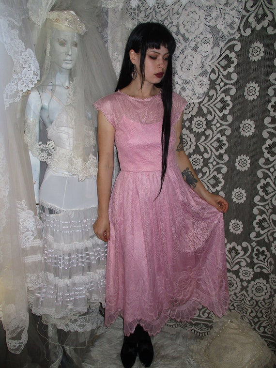 50s 60s Pink Lace Dress with Pointed Handkerchief… - image 2