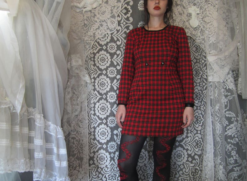 90's Red and Black Plaid Mini Dress By All That Jazz Short Red Dress 1990s Alternative Grunge Warm Fall Winter Longsleeved Goth Punk Style