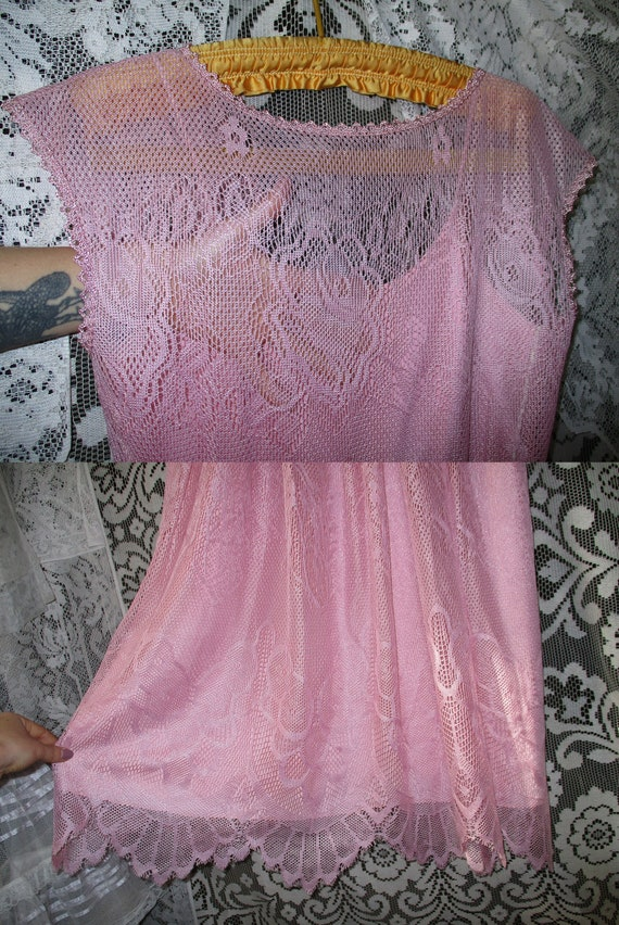 50s 60s Pink Lace Dress with Pointed Handkerchief… - image 7