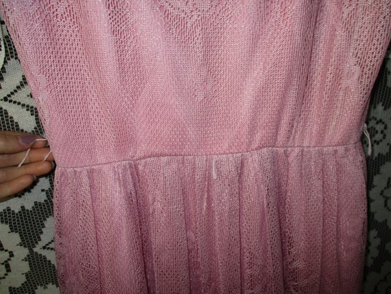 50s 60s Pink Lace Dress with Pointed Handkerchief… - image 8