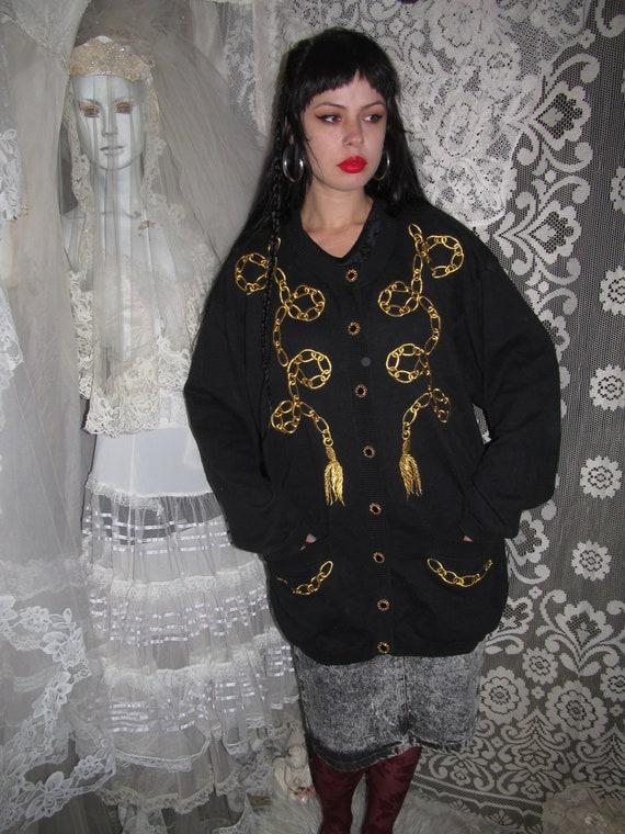 80s Black Chain & Tassel Embroidered Cardigan Swea