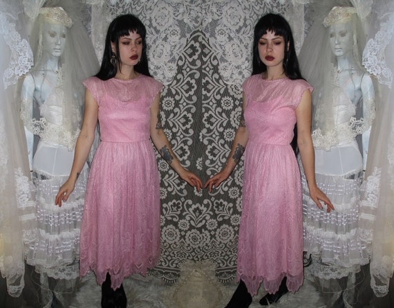50s 60s Pink Lace Dress with Pointed Handkerchief… - image 1