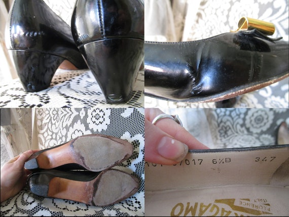 Salvatore Ferragamo Schuhe Schwarz Lackleder Heels Gold Metall Bogen italienischen Entwerfer niedrigem Absatz PVC Vintage Pumps Goth Punk Witchy