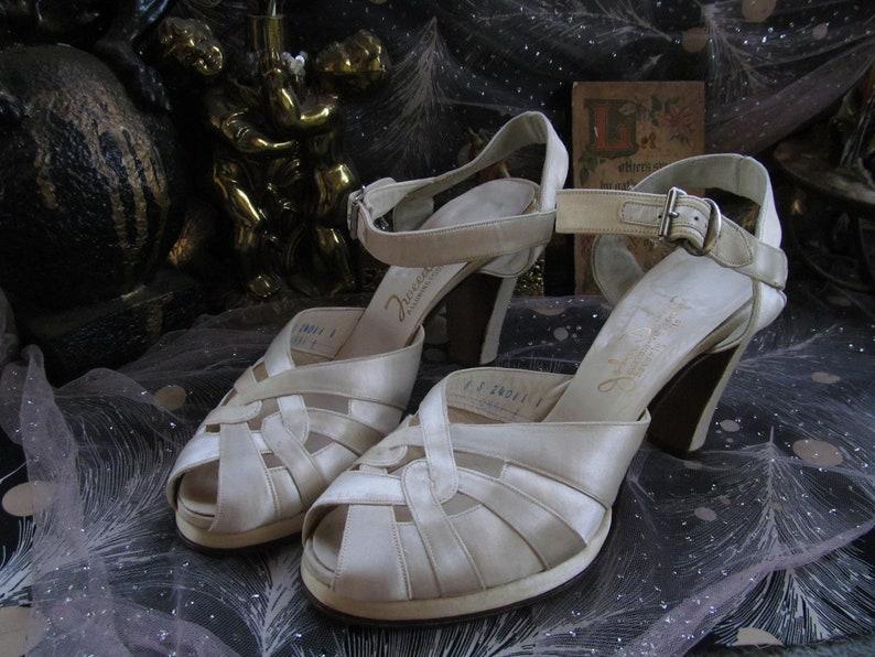 382c8463500 40s White Satin Strappy Platform Heels Peep Toe Ankle Strap