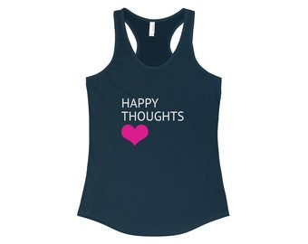 Happy Thoughts Heart Racerback Tank - Midnight Navy