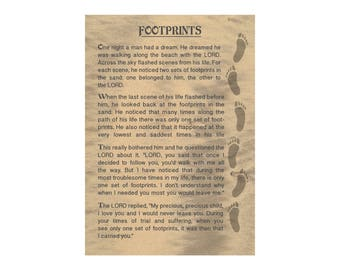 photo about Footprints in the Sand Poem Printable titled Footprints inside of sand Etsy