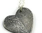 Fine Silver Double Fingerprint Pendant, Two Fingerprint Pendant, Fingerprint Heart Pendant, Gift Idea