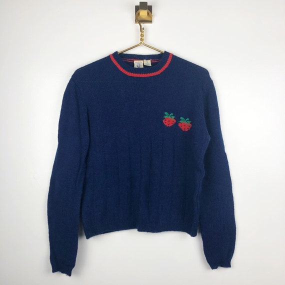 Vintage 80s J.G. Hook Shetland Wool Blue Strawberr