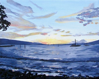 """Sunset at Lahaina, original oil painting on canvas, 11""""x14"""""""