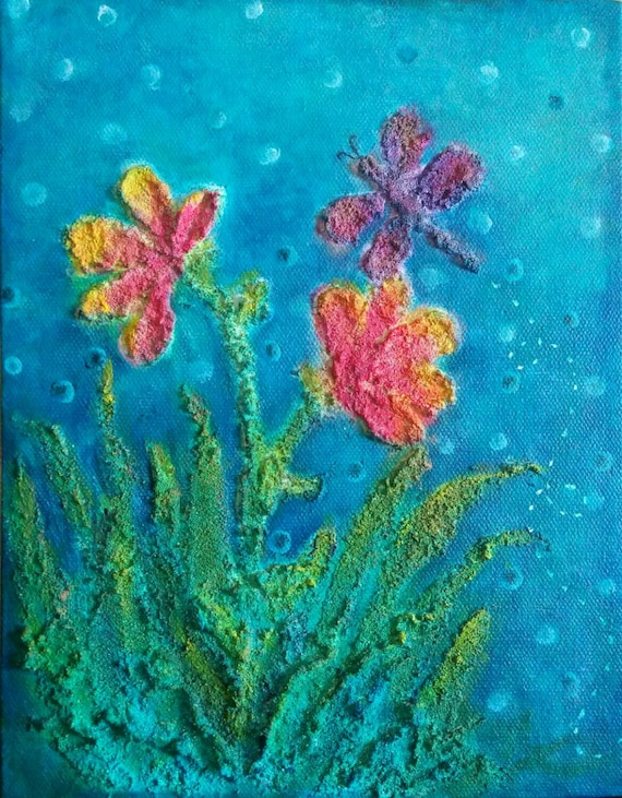Mixed Media Acrylic Painting with Textured Flowers and Dragonfly on Canvas,  Floral Artwork for Wall or Shelf