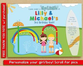 Splash Pad Invitation, Water Park Birthday Party, Spray Park Invitation, twins siblings friends