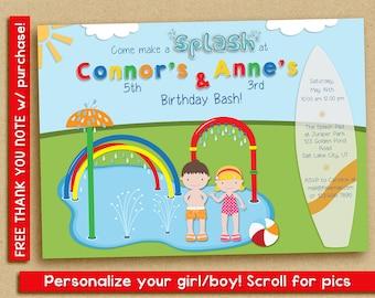 Splash Pad Invitation, Water Park Birthday Party, Spray Park Invitation, twins, siblings, friends